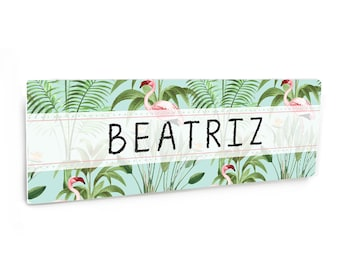 Customizable girl room decor name sign - tropical theme with flamingos - NM37