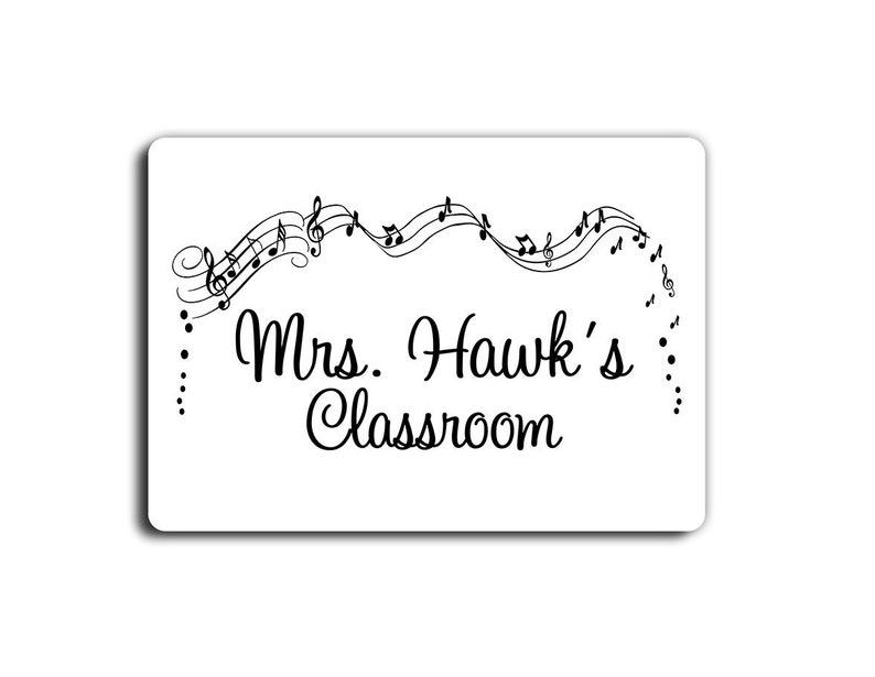 Personalized Music Theme Teacher Classroom Door Sign White Etsy