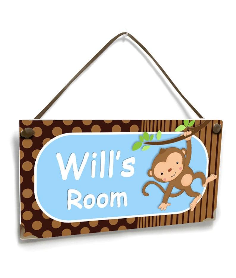 blue decor cute mod monkey personalized newborn baby boy door sign for kids bedroom P299