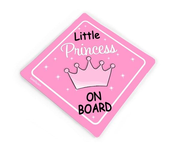 Crown Princess Isla On Board Personalised Baby Girl Car Sign