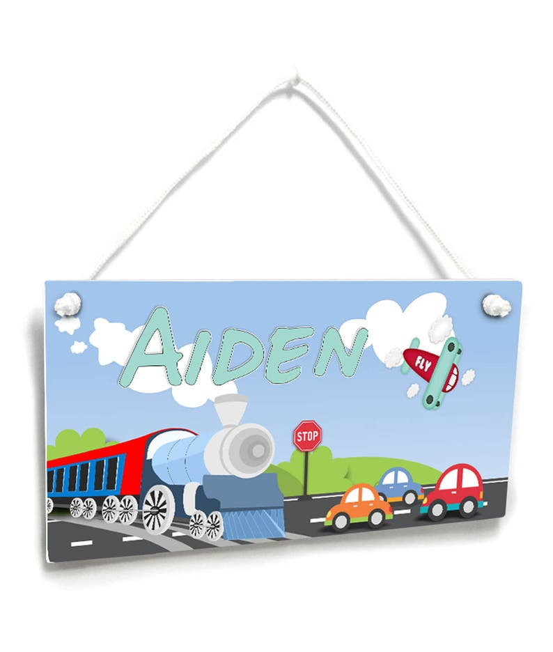 Personalized transportation theme door sign boys bedroom name plaque P259