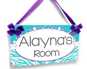 girls bedroom zebra print white purple and teal decor door sign personalized name plaque - P2063
