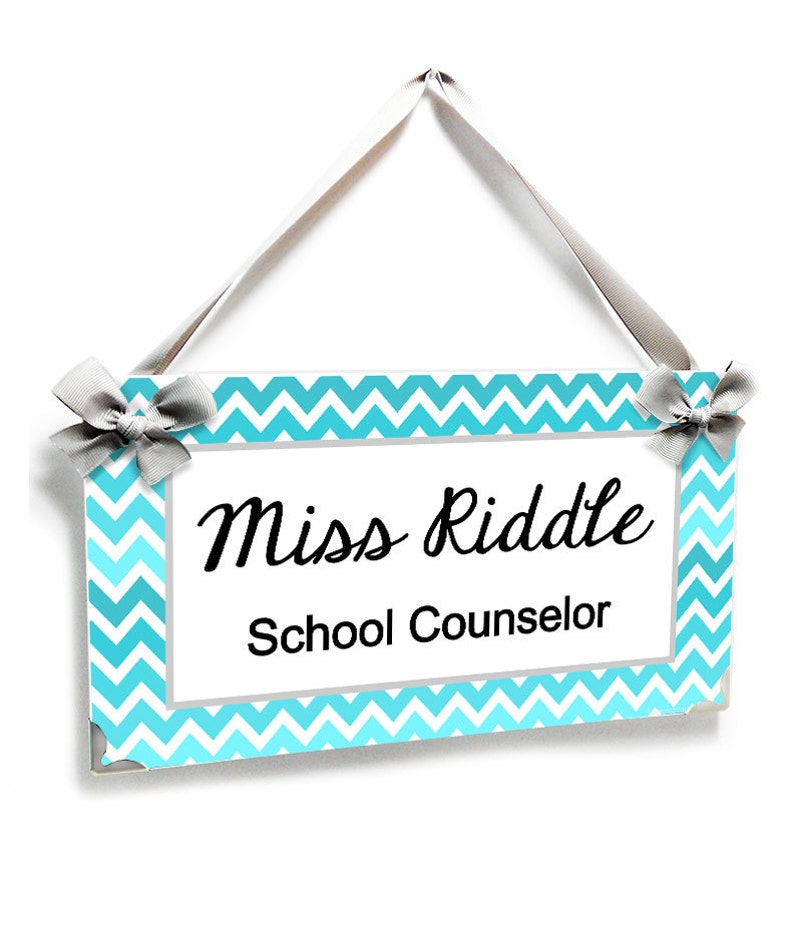 personalized school counselor classroom door sign  teal image 0