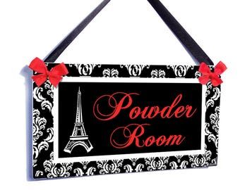 personalizable eiffel tower bathroom door sign - black and white damask red lettering powder room - P2592