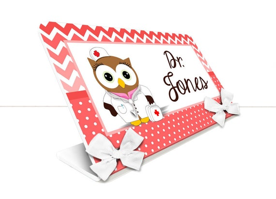 Teacher Classroom Desk Name Plate Personalized Black Plaque With Owls