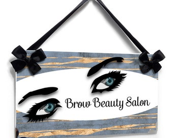 Personalized esthetician beauty studio door sign eyebrows and lashes - salon station sign - P2534Beauty Salon Decor