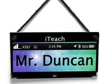 technology themed male teacher classroom door sign - personalized teacher gift wall plaque - P410  sc 1 st  Etsy & technology themed classroom door sign personalized teacher