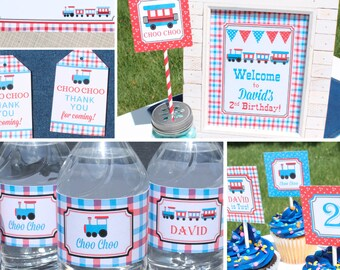 Train Birthday Party Decorations train party decor train 2nd birthday decorations train second birthday decorations red blue