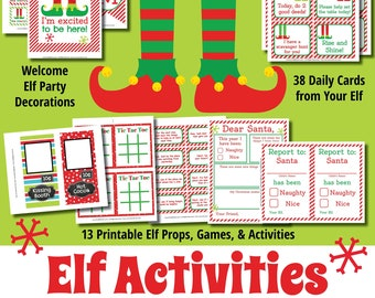 elf printables kit easy elf props games and activities on the shelf instant download