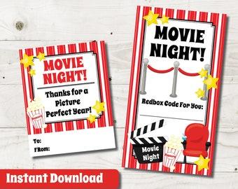 Redbox Printable Gift Card Redbox Gift Tag Movie Gift Etsy
