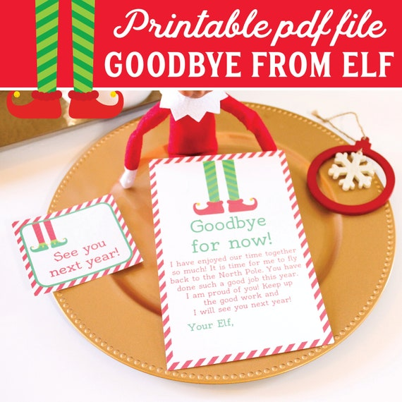 elf goodbye letter to kids on the shelf goodbye note printable instant download