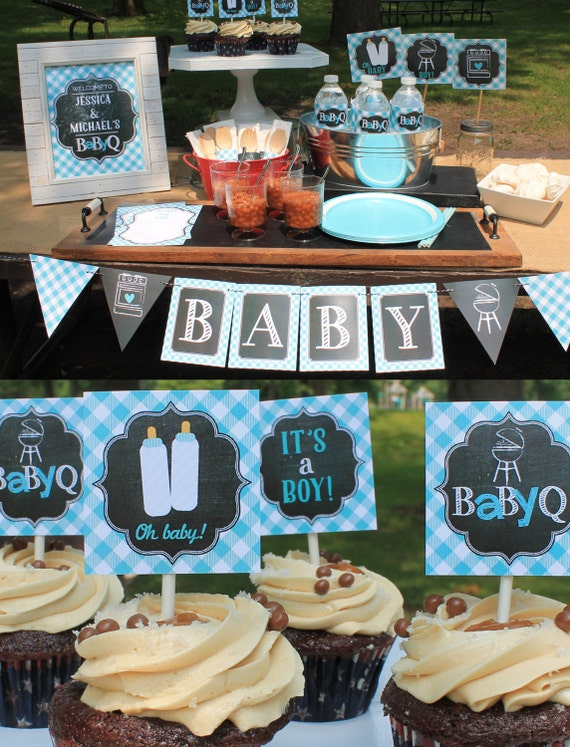 Boy Baby Q Decorations Bbq Baby Shower Couples Baby Shower Etsy