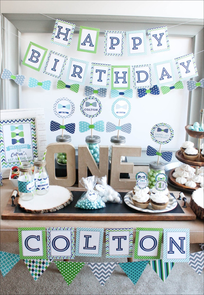 First Birthday Boy Decorations 1st Decor Party Bow Tie