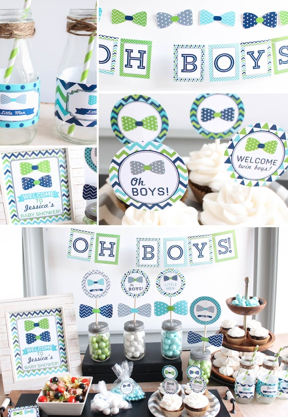 Twin Boys Baby Shower Decorations, banner, cupcake toppers, games