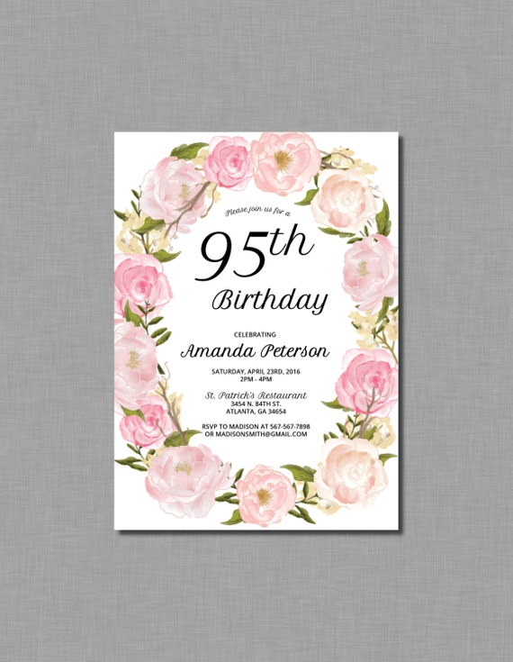 Items Similar To 95th Birthday Invitations 90th 80th 85th 100th Watercolor Pink Flowers Printable On Etsy