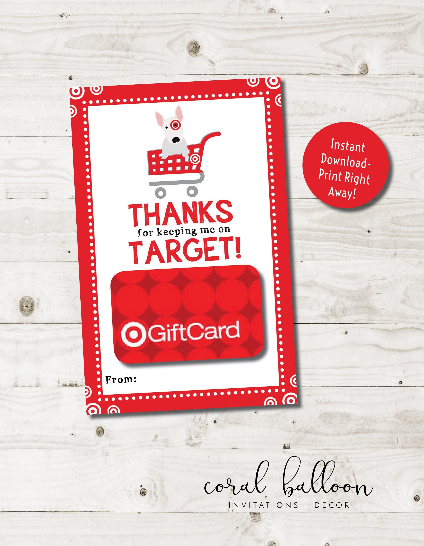 Target Gift Card Holder Teacher Appreciation Printable Teacher   Etsy