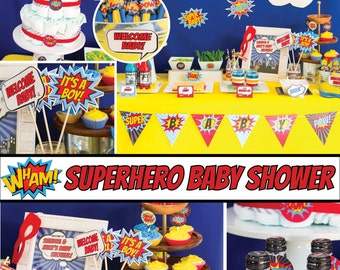 Superhero Baby Shower Decorations Superhero Shower Baby Superhero Boy Baby  Shower Superhero Decoration Superhero Party Printable