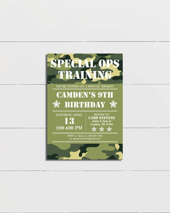 Army Birthday Invitation Military Camouflage Invite Printable Or Printed