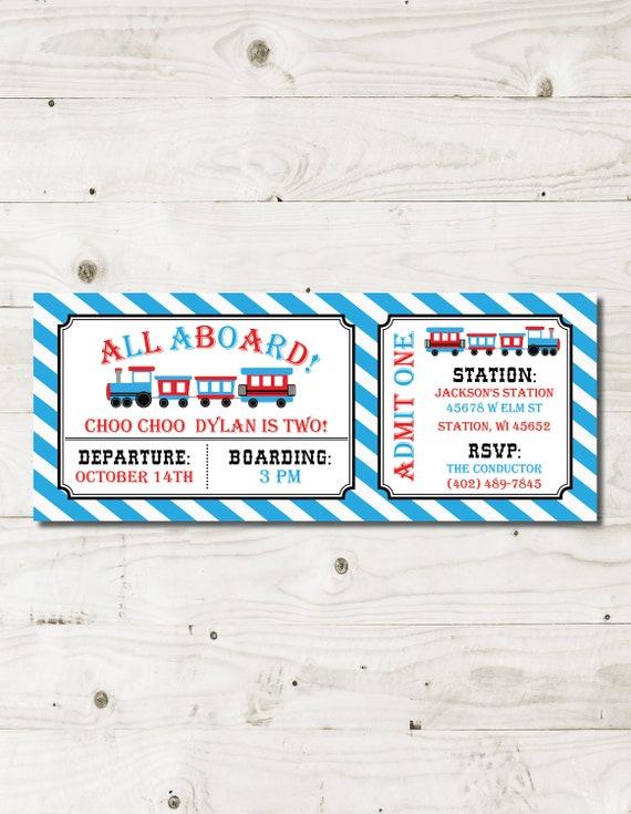 Train Ticket 2nd Birthday Party Invitation