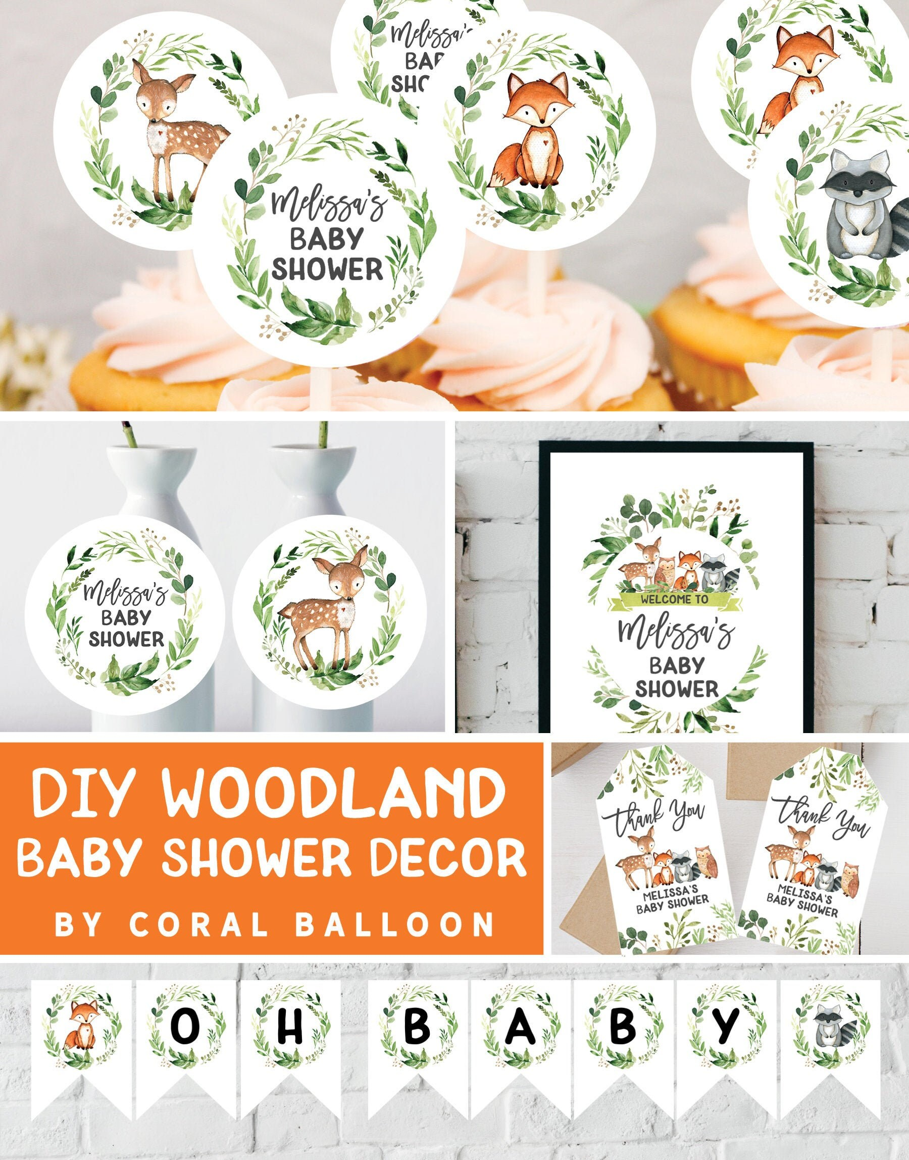 Woodland Baby Shower Decorations Banner Cupcake Toppers Games Centerpieces Welcome Sign Favor Tags Food Tents Printable
