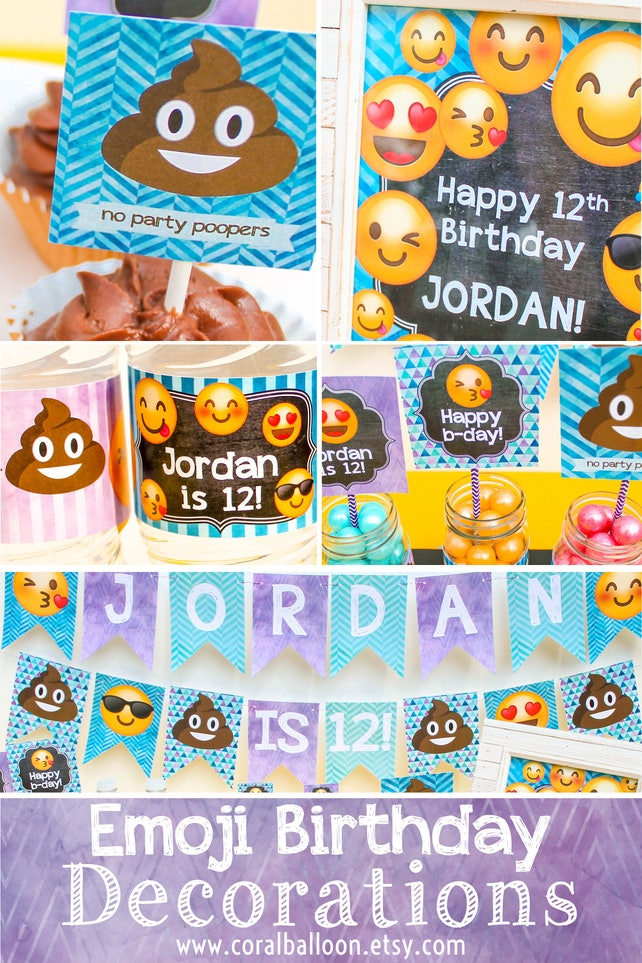 Emoji Birthday Decorations Poop Party Supplies FB24 Printable