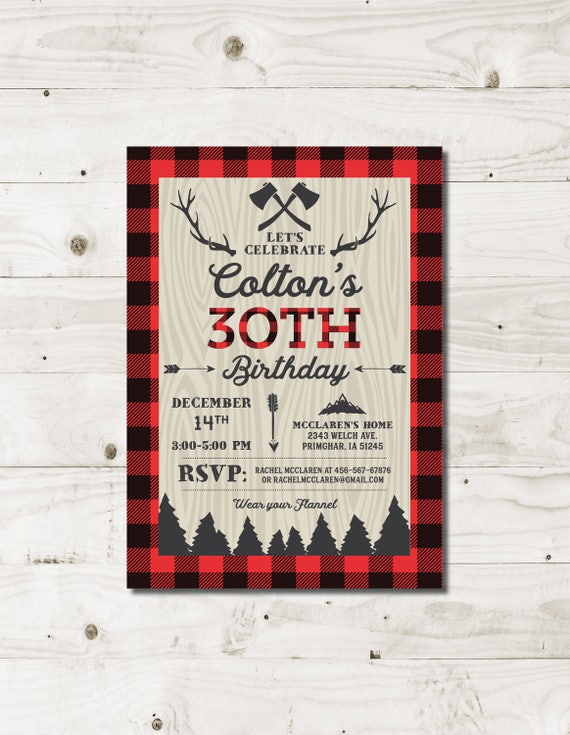 30th birthday invitations for him lumberjack mens birthday adult il570xn filmwisefo