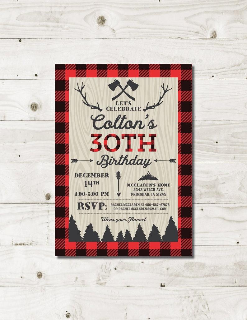 30th Birthday Invitations For Him Lumberjack Mens