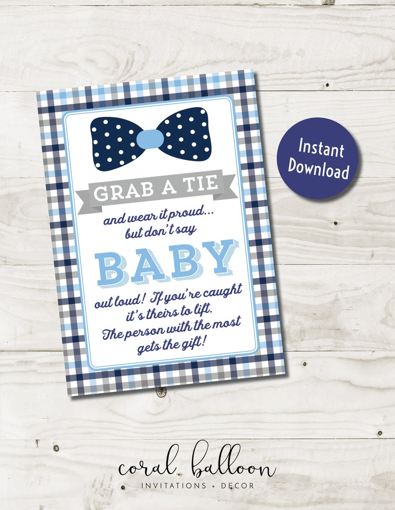 Don T Say Baby Game Sign Boy Baby Shower Games Bow Tie Etsy