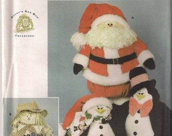 Simplicity Sewing Pattern 5893 - Penguins, Santa, Scarecrow Dolls
