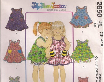 McCall's Sewing Pattern 2650 - Children's and Girls' Dress or Top and Pull-On Shorts (4-6)