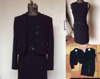 Vintage 1980's Moschino Cheap and Chic Black Sheath Dress & Jacket set - Small