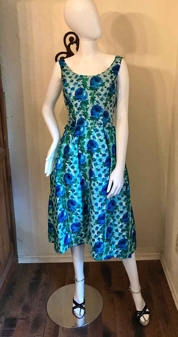 1950's Blue Roses Sequin Cocktail Party Dress S-M