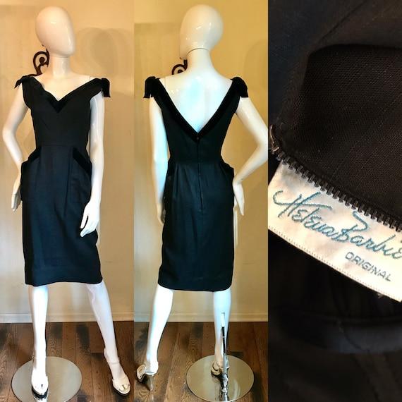 Vintage 50s Couture PINK Evening Dress 1950s Helena Barbieri Cocktail Dress