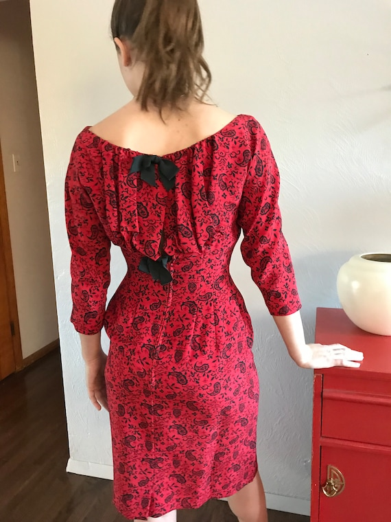 1950's Mr. Mort Sexy Red Paisley Wiggle Dress S