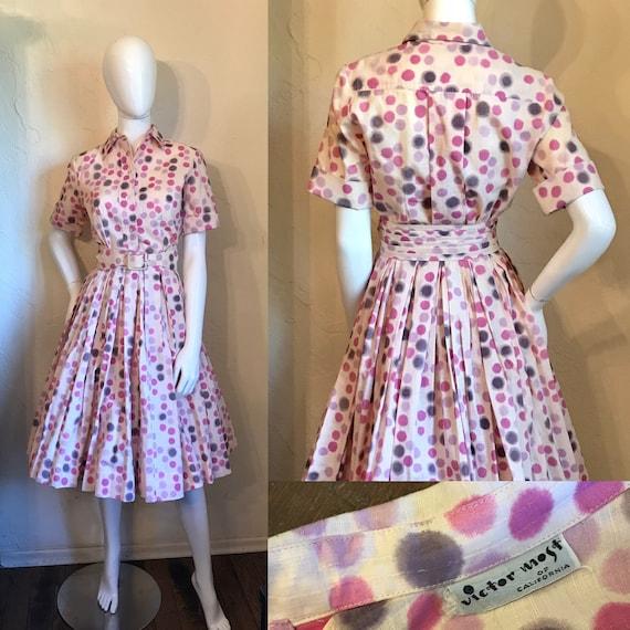 1950's Darling Dottie Novelty Print Blurred Dots D