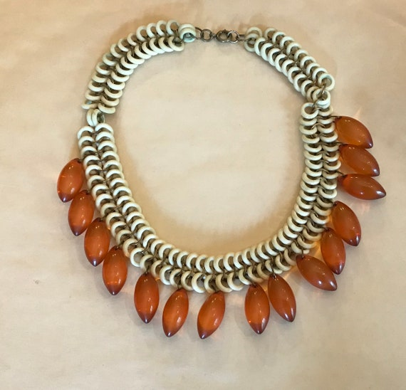Vintage 1940's Ornate celluloid chain Bakelite Tea