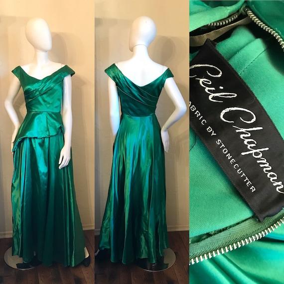 1940's 1950's Ceil Chapman Emerald Green Evening G