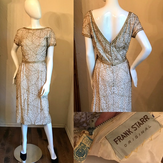 1950's Frank Starr Original Gold Beaded Sequin Coc
