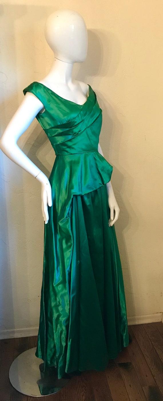 1940's 1950's Ceil Chapman Emerald Green Evening … - image 5