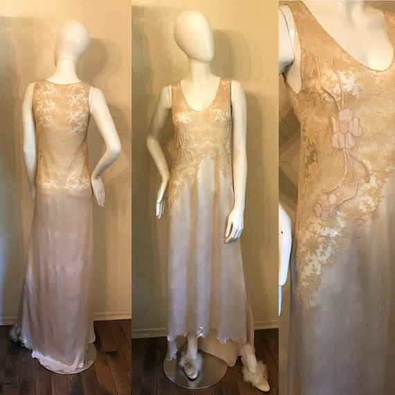 Vintage 1920's Blush Pink Silk & Lace Night Gown S