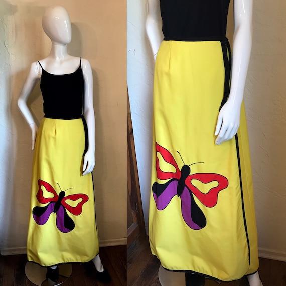 1970's Loomtogs Mod Butterfly Appliqué Maxi Skirt