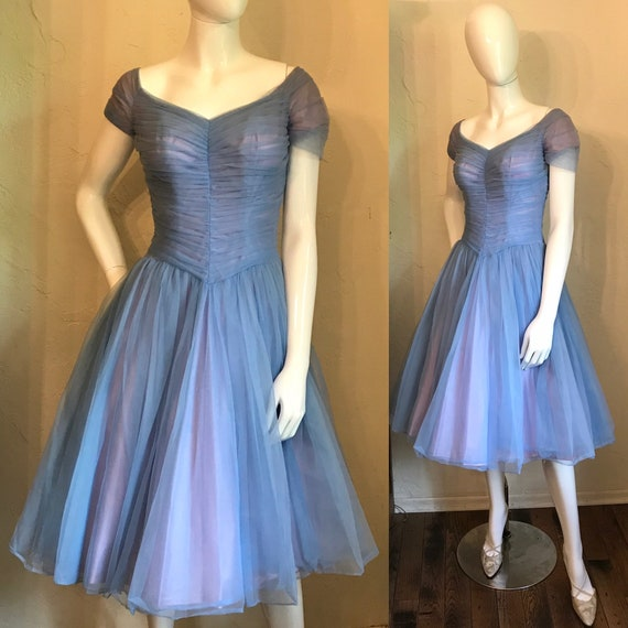 1950's Periwinkle Blue Nylon Tulle Cupcake Party D