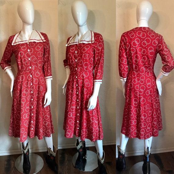 Vintage 1930's 40's Princess Peggy Cotton Day Dres