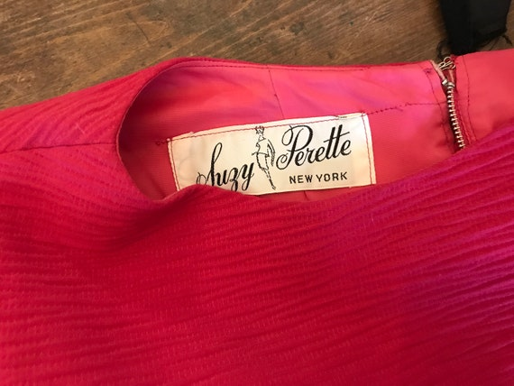 1950's 1960's Suzy Perette Hot Pink Cocktail Day … - image 7