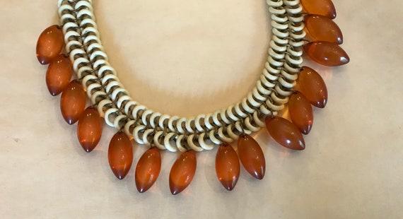 Vintage 1940's Ornate celluloid chain Bakelite Te… - image 2