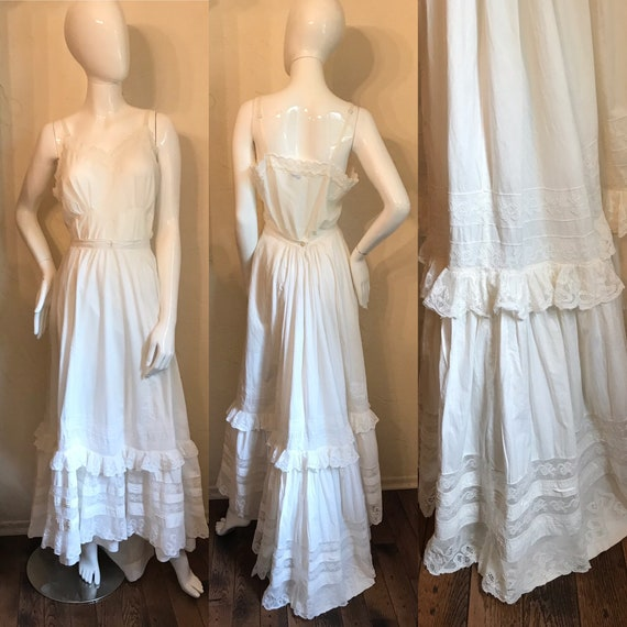 Antique Victorian White Cotton & Lace Bustle Skirt