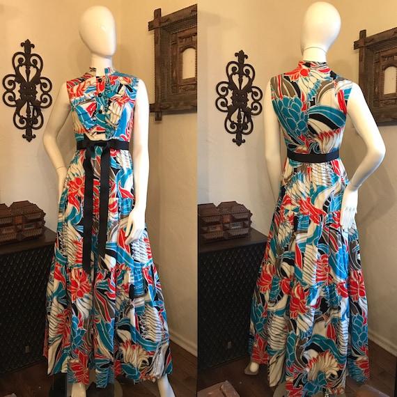Vintage 1970's Malcolm Starr Floral Maxi Dress Gow