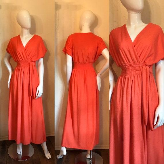 Vintage 1970's Mod Tangerine Terry Knit Maxi Dress