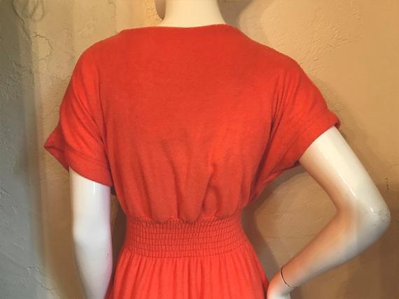 Vintage 1970's Mod Tangerine Terry Knit Maxi Dres… - image 8
