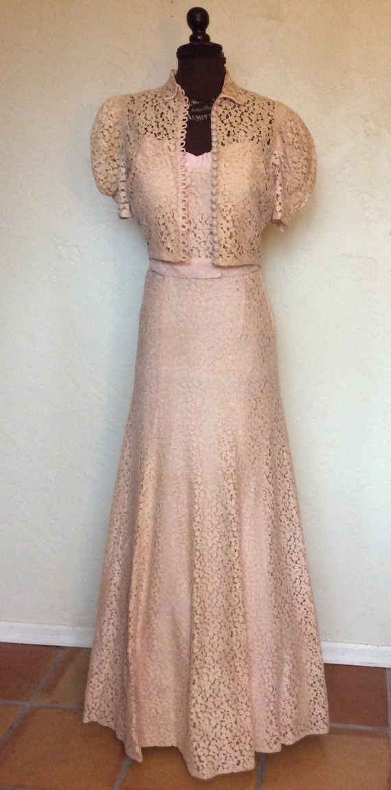 Oh so Sweet Vintage 1930's Pale Pink Lace Evening… - image 1